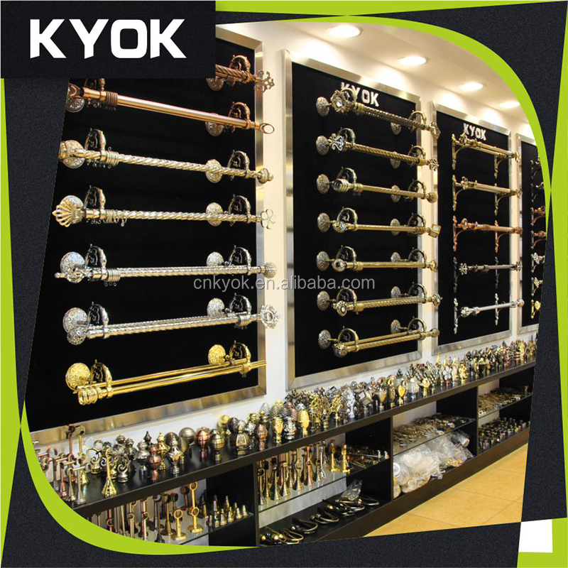 KYOK colorful tension rod curtain rod ,curtain rod accessories ,high quality single double curtain rod factory in Foshan