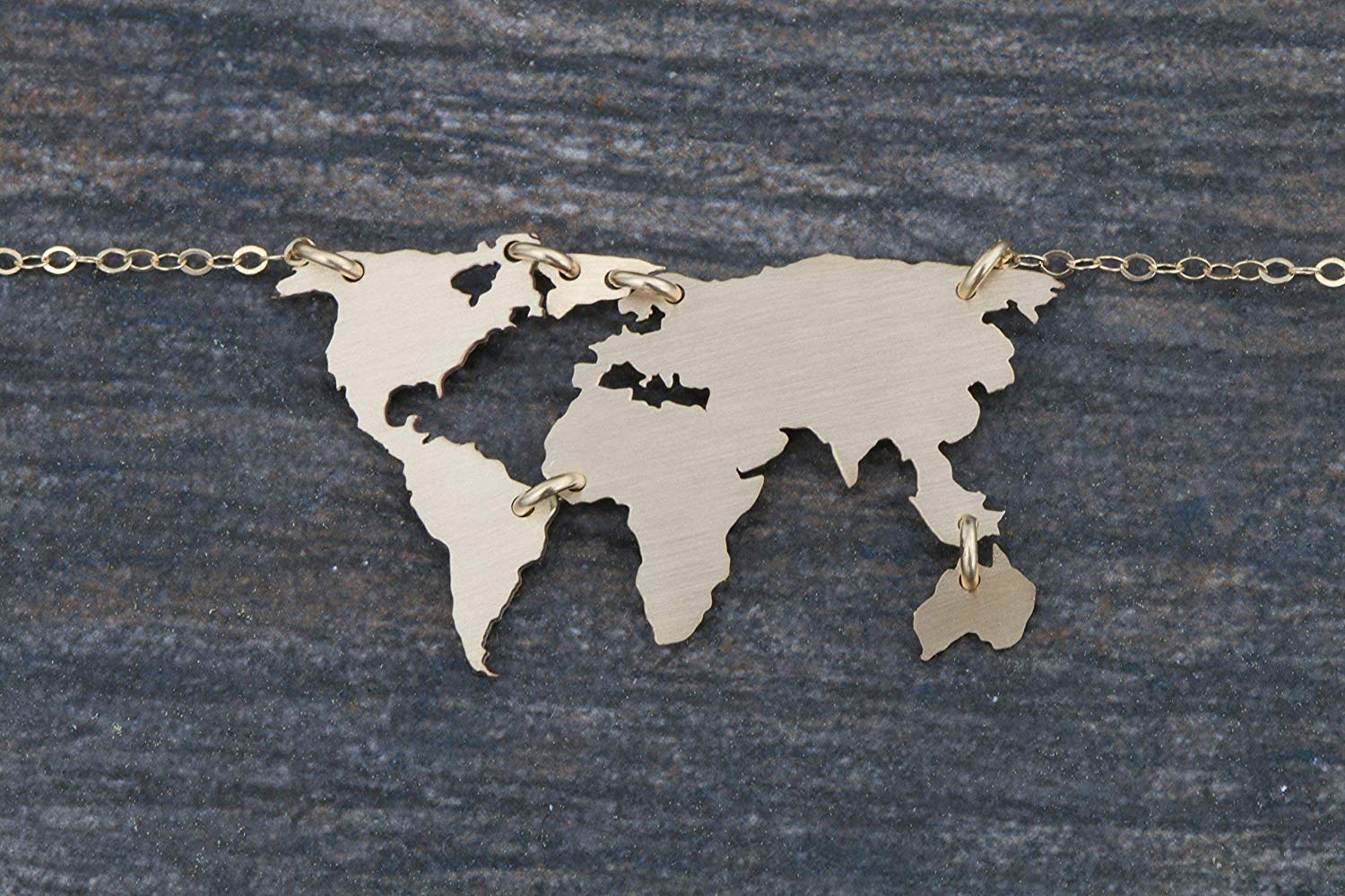 World Map Necklace - IBD - Earth Day Gift - 935 Sterling Silver 14K Gold Filled - 1.25 Inch x 3/4 31.75 MM x 19.05 - Globe Pendant - Travel Vacation Keepsake Memento