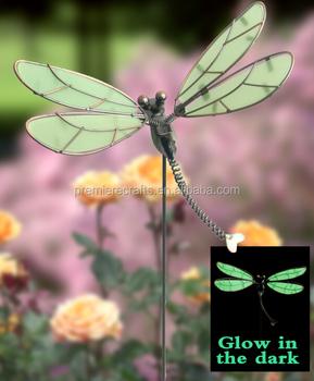 Gold Silver Effect Metal Plastic Ceramic Garden Stake Glow In Dark Dragonfly  Garden Stake