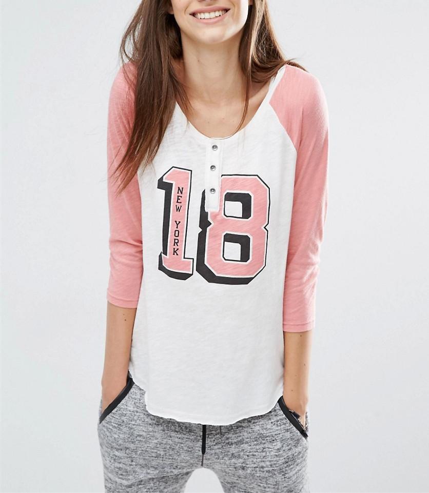 6eca34982 Joven y enérgico chicas jóvenes diseño Popular camiseta Raglan manga camiseta  para las mujeres ...