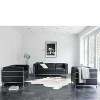 LC2 Sofa Modern Design Black Synthetic Leather Sectional Office Sofa Made in Foshan China