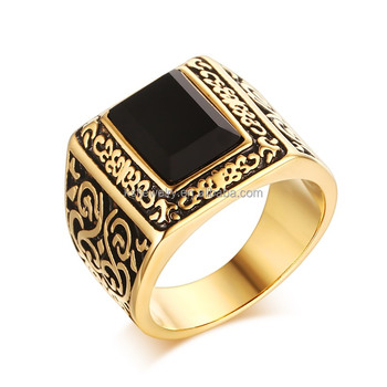 2016 Latest Design Single Black Stone Fashion Gold Ring Design For