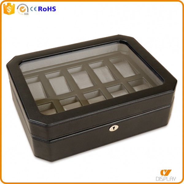customized wooden 10 slot leather watch box with window