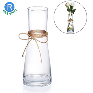 As Gift Decorative Flower Vases With Rope Tall Glass Vases For Wedding Centerpieces