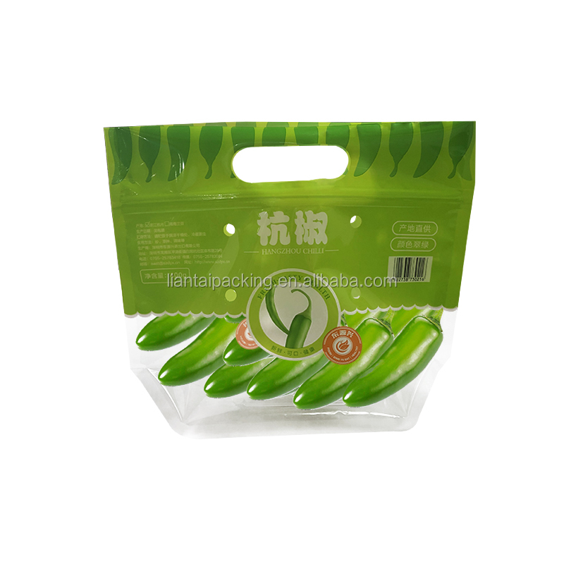 Standing up available zip lock cusom printing vegetable packing bags with punch hole