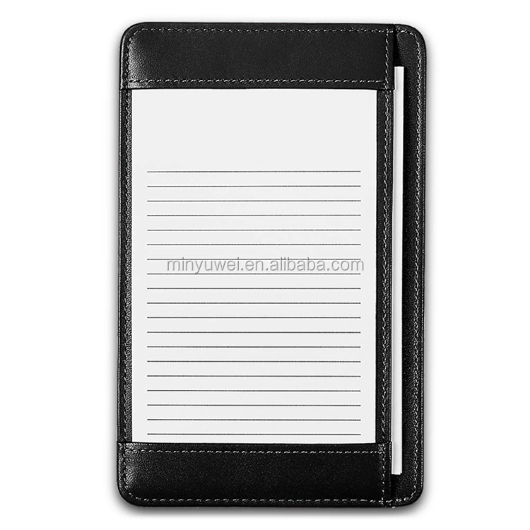 black pocket memo case real leather office refillable note holders to do list book case with pocket