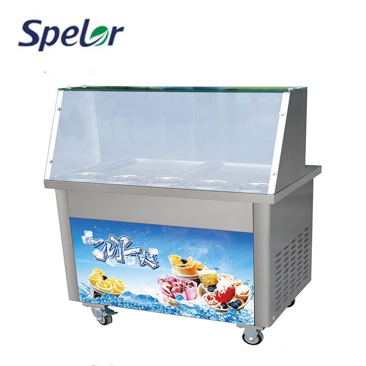 Air Cooling Cheap Price Multifunctional 2 Pan Thai Fried Ice Cream Roll Machine