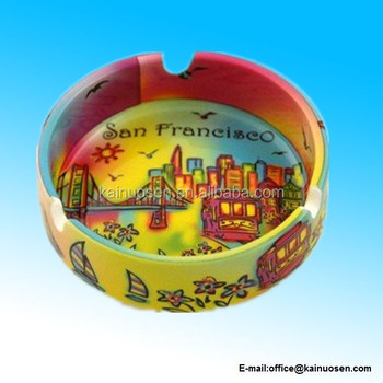 San Francisco Ashtray Neon Rainbow 4 Inch Ceramic
