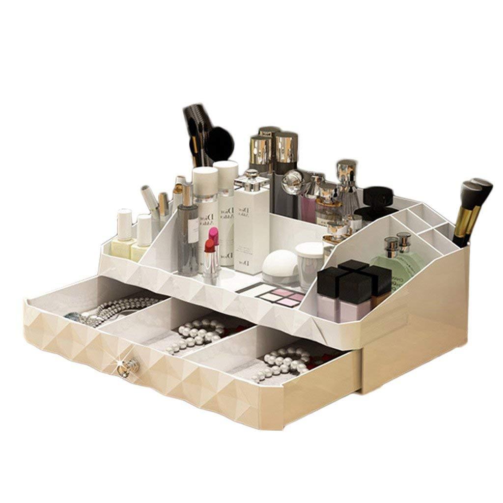 Cosmetic Storage Box, Desktop Skin Care Products Finishing Box European Plastic Dressing Table Rack (Size : Medium)