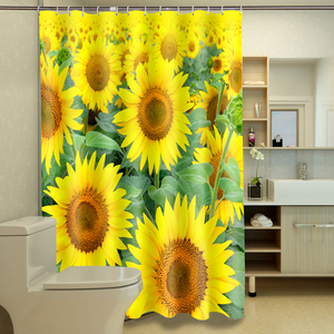 Yellow Sunflower Design Decorative Custom Home Goods Amazon Top sale 2O17 PVC Luxury Water Repellent Bath Shower Curtain