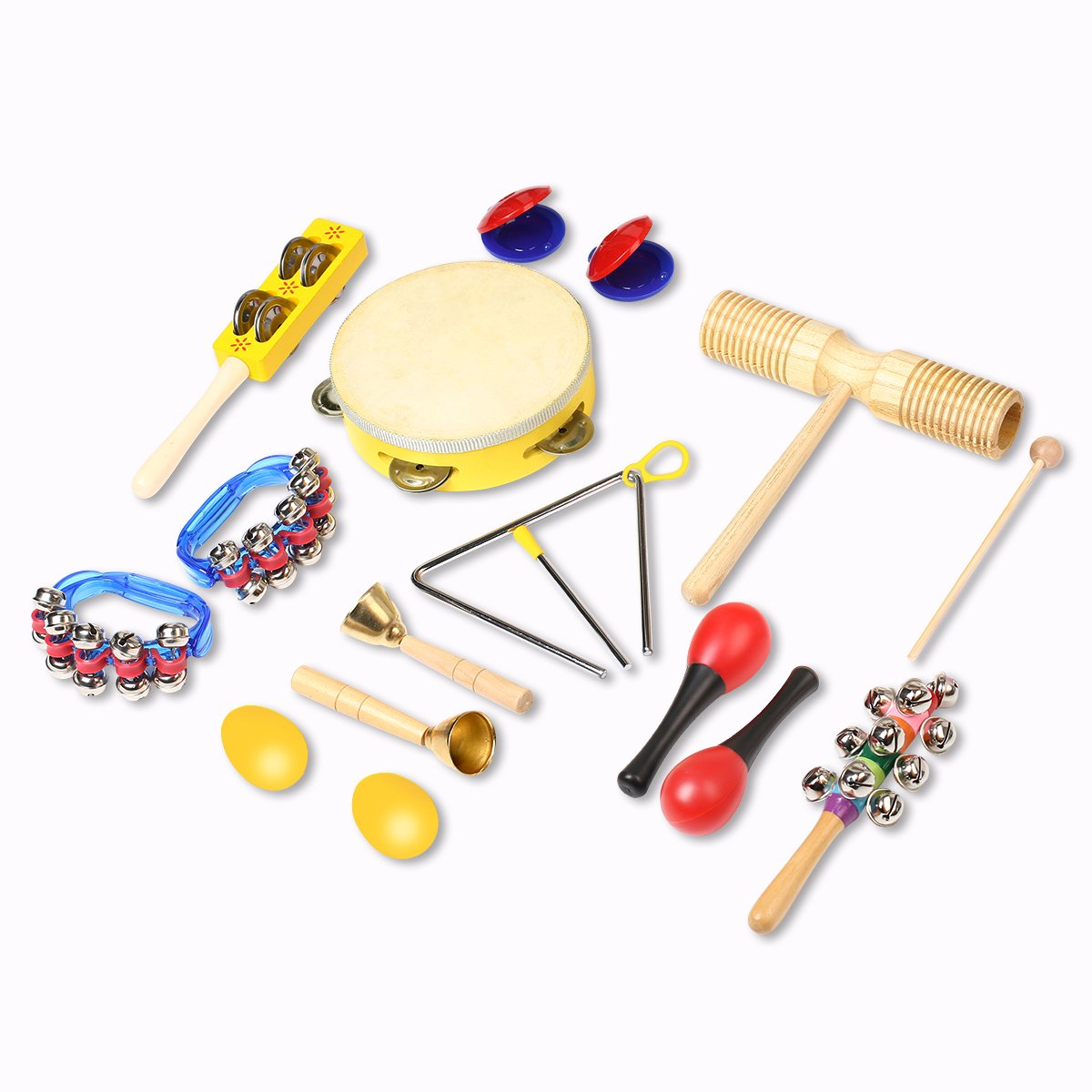 Musical Instrument Toys for Kids, 15PCS INKERSCOOP Toddlers Toys Set, Child Percussion Set Preschool Educational Learning Musical Toys Wooden Baby Toys Musical Instruments Set for Boys and Girls