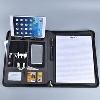 Custom executive zippered A4 padfolio pu leather portfolio with power bank