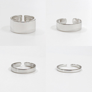 Wholesale engravable high polished 2/3/6/9mm width 925 Sterling Silver Plain Band Adjustable Ring Jewellery