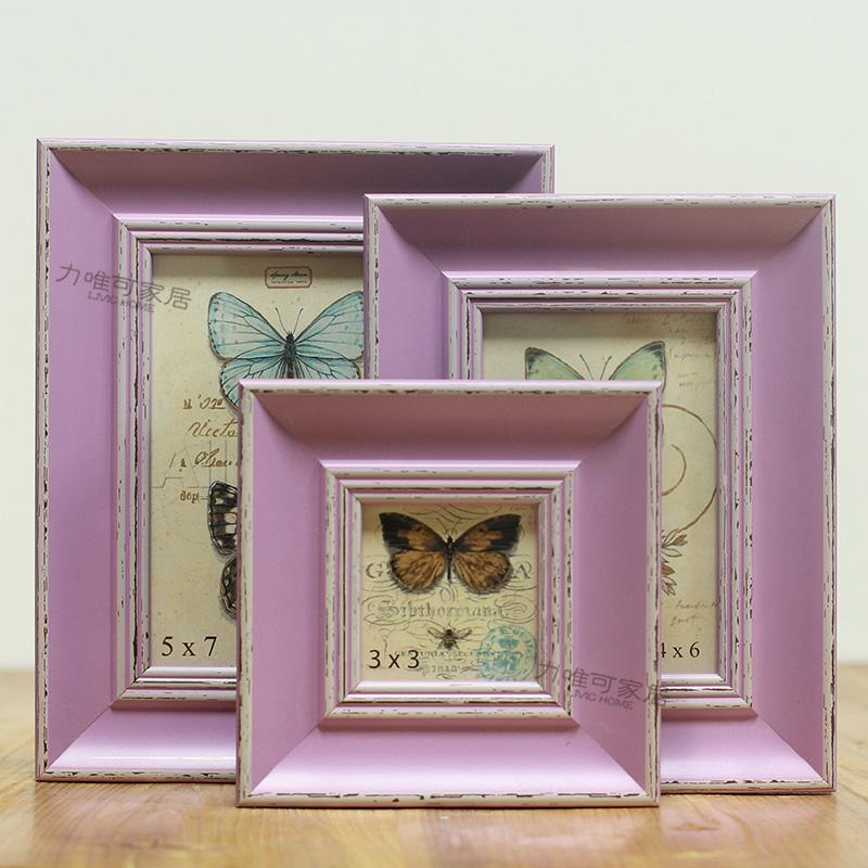 Северной американском стиле ретро , чтобы сделать старый деревянный каркас фиолетовый 3 дюймов 6 дюймов 7 дюймов фоторамка стены качели комплект стены