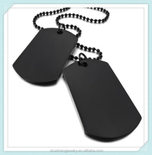 Stainless steel black plated custom engraved men women style dog tag army necklace