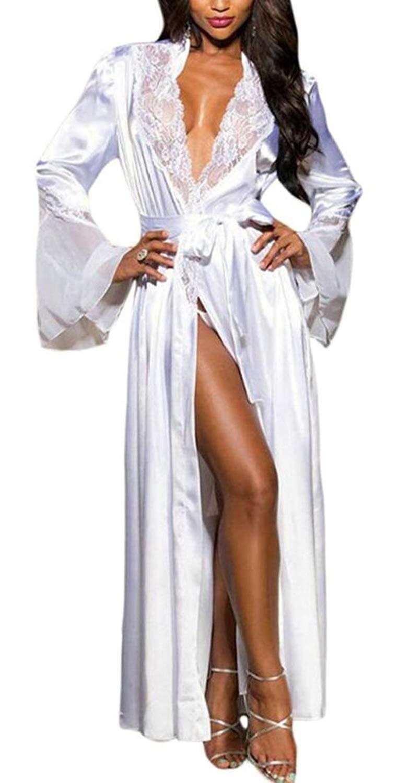 98f3eff3ec Get Quotations · GenericWomen Lace Trim Kimono Robe Nightwear Sleepwear  Nightgown Satin Long Robe