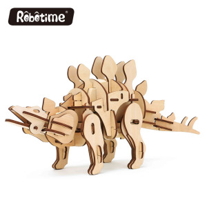 Robotime RC and sound control and light control 3D wooden puzzle robotic walking dinosaur toy