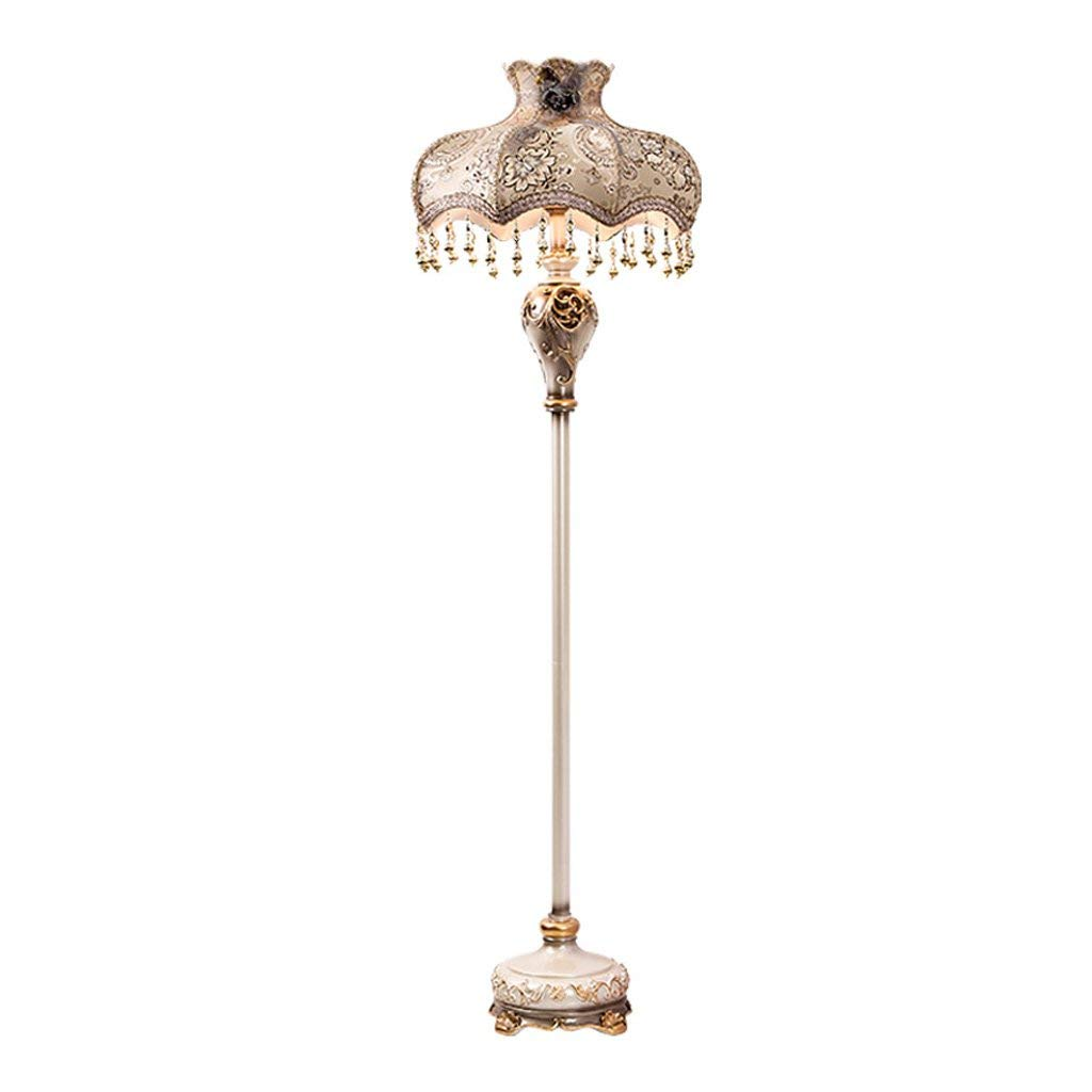 HALORI LAMPS European style vertical lamp E27 retro living room bedroom resin carved bedside floor lamp, champagne color traditional classical art floor lamp