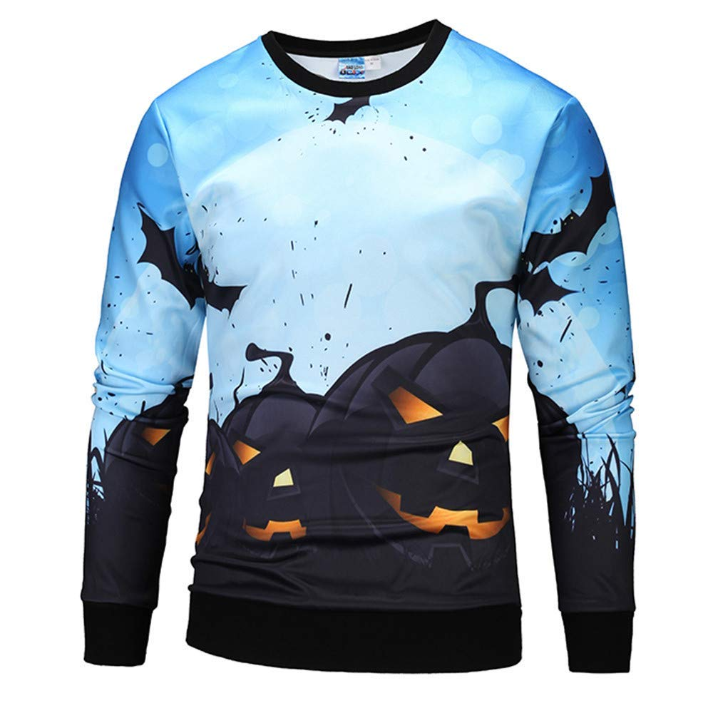Ennglun-sweatshirts Men's Jacket,Mens Casual Scary Halloween Pumpkin 3D Print Party Long Sleeve Hoodie Top Blouse 2018 Clearance
