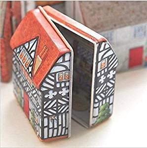 Mini Vintage House Tinplate Shape Storage Tin Box Coin Bag Jewelry Box Lovely Print Storage Box Girls 5.546CM (C 6pcs)