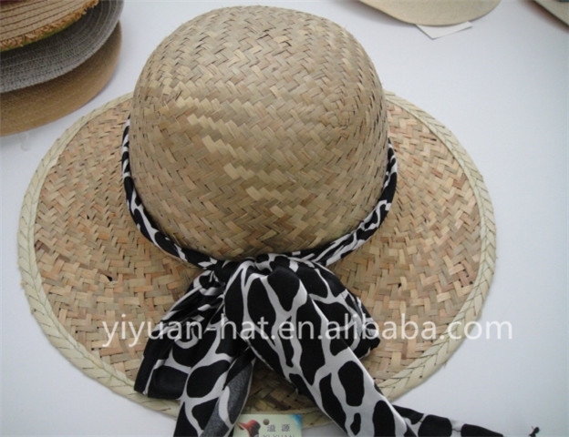 Hot sale palm leaf hats straw hats with scarf for women