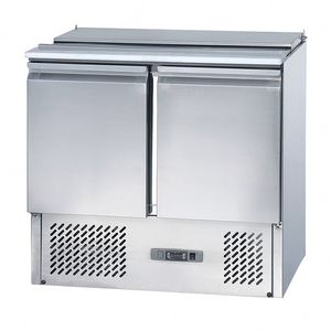 stainless steel with glass case refrigerated fish display table
