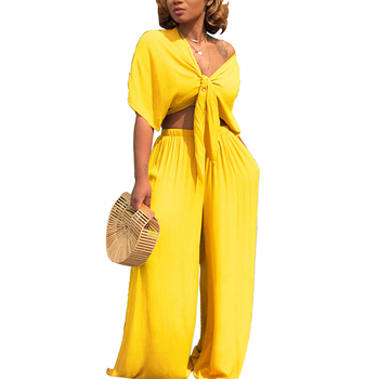 Wholesale New yellow fashion ladies loose two short sleeve women jumpsuit