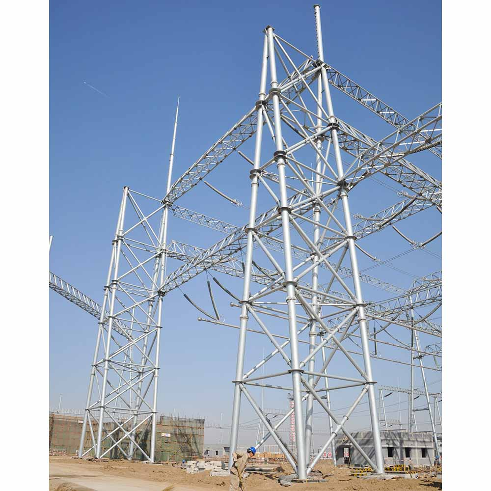 Galvanized Electric Power Supply Transmission Line Substation Steel Structure