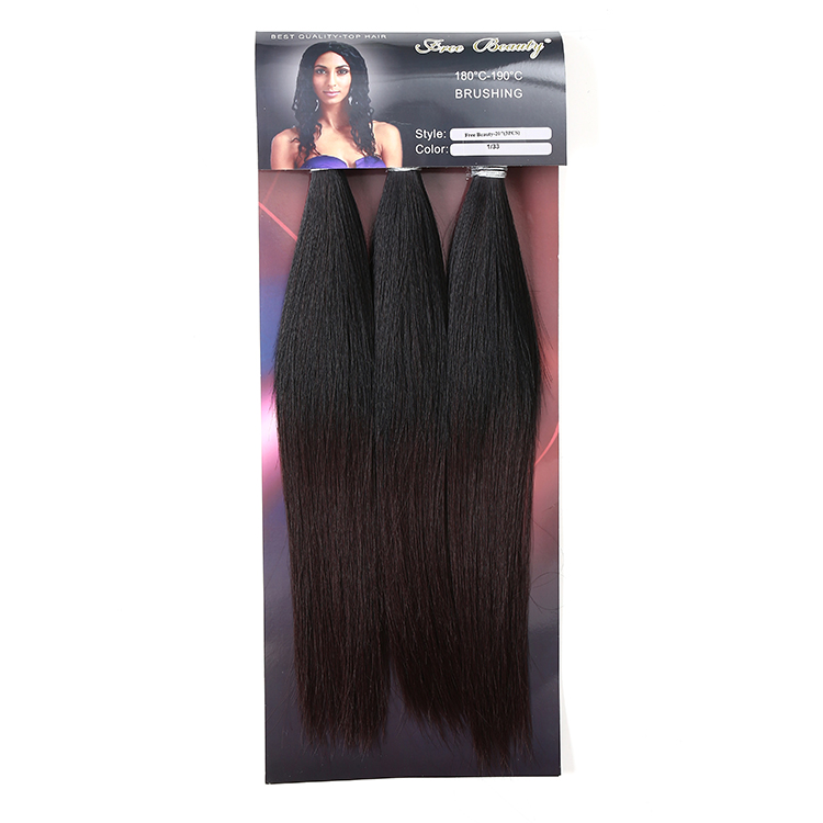 Custom Packing Cheap Wholesale Black Straight Synthetic Hair Extension