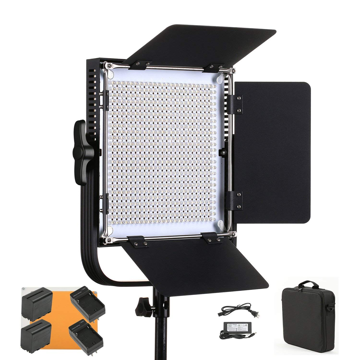 Led Video Light SUTEFOTO 660A Pro CRI95+ 4800lux 600 PCS Pro Metal Dimmable Bi-Color 3200K-5600K Light Panel for Outdoor Interview Studio Lighting Video Making Photography