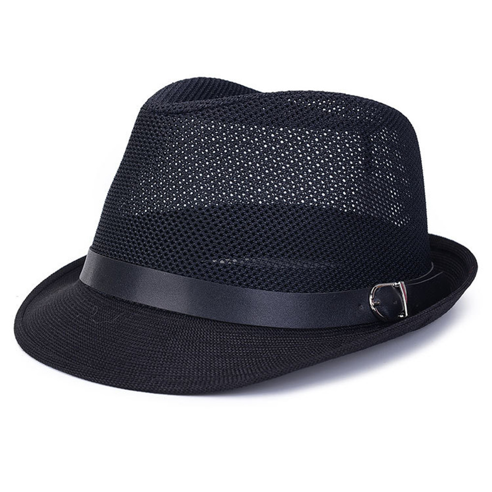 2015 New Mens Summer Styles Breathable Travel and Casual Jazz Hat Hollow Grid Formal Fashion Trendy Linen Hat Fedora Cap