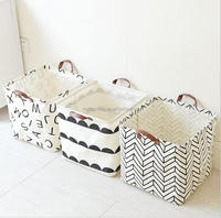 Foldable washing cotton linen toy baby clothes woven basket
