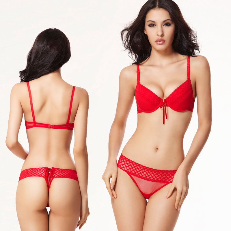 Buy black red sutyen sexy push up bra set 32B 34C 36C 38C sexy see ...