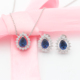 925 silver jewelry set Sapphire Stone Wedding Jewelry Necklace Earring Set bridal