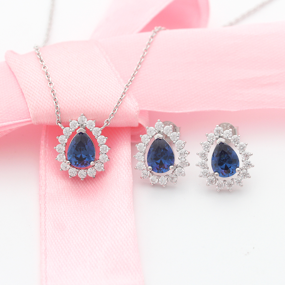 Sapphire Stone Wedding Jewelry Necklace Earring Set