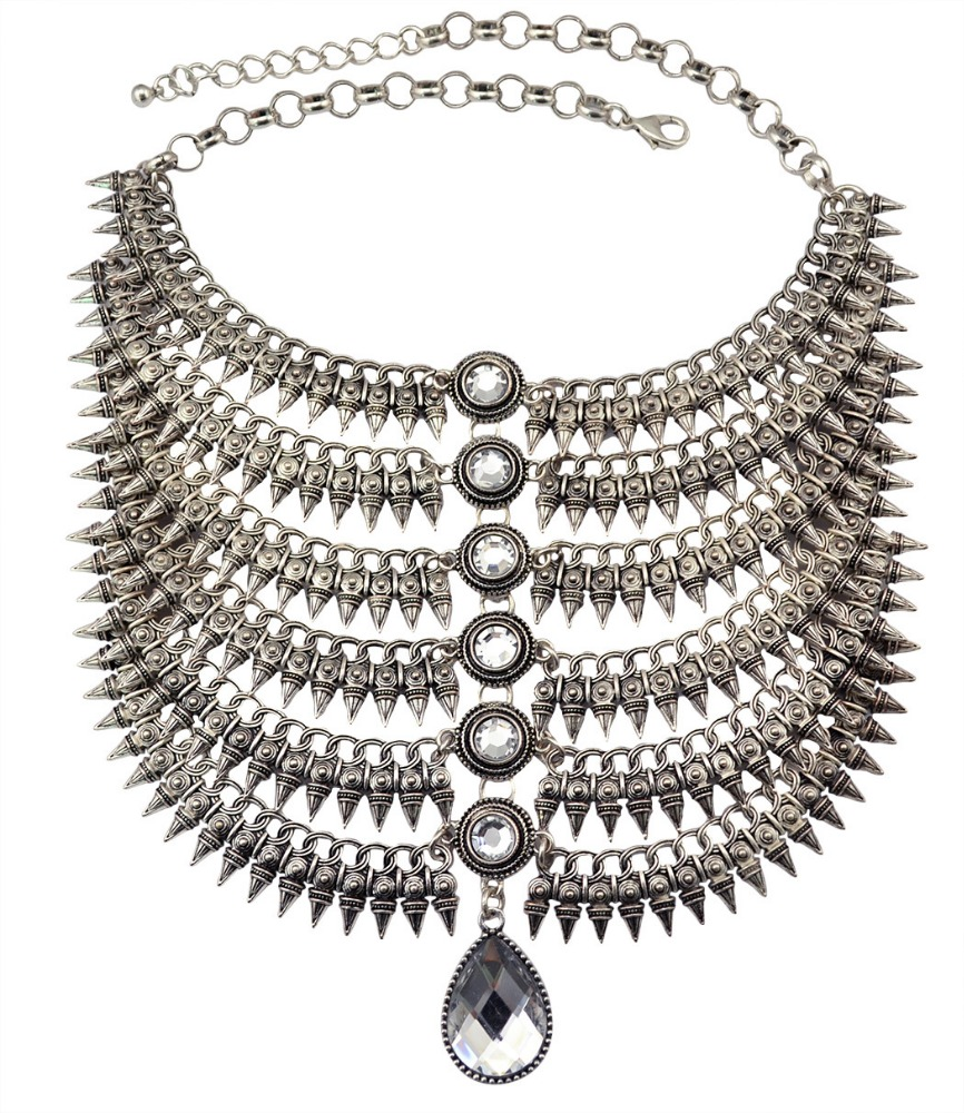 women chunky necklace fashion jewelry cool layers silver spike necklace spike chunky necklace