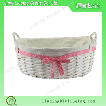 White Oval Wicker Baskets With Lining And Pink Ribbon Handles Shallow Gift Basket