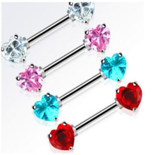 Hot-selling 14 Gauge surgical steel Heart shaped Nipple ring