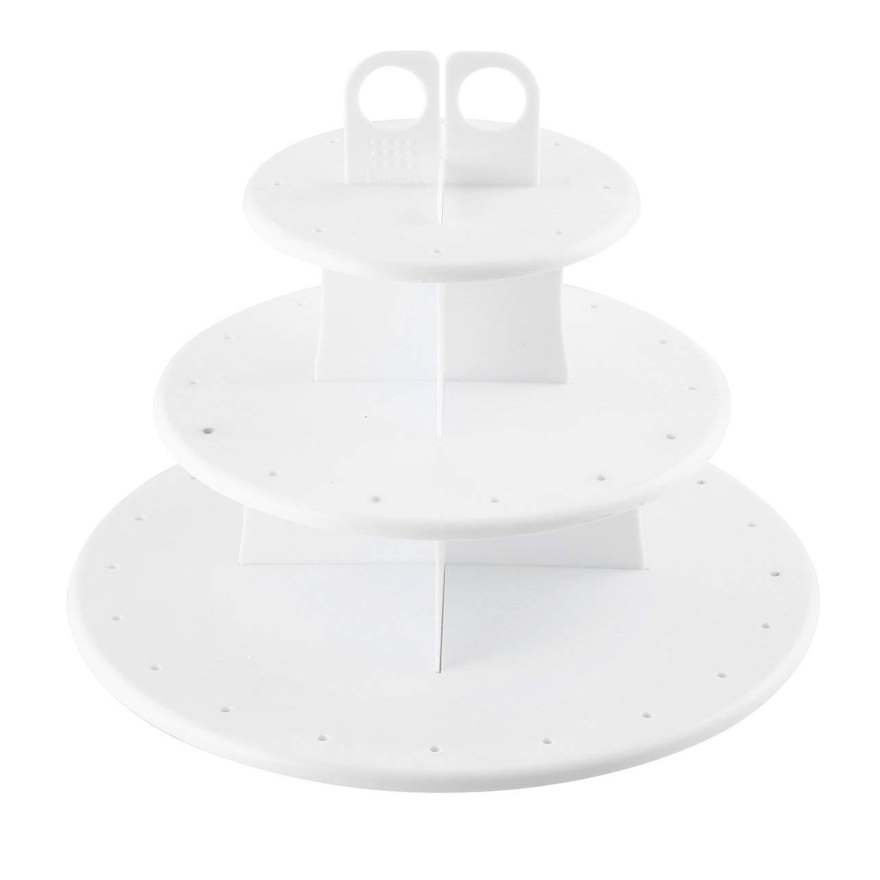 Kitchen 3-Layer Cake Pop & Cupcake Stand Healthy Food Grade Plastic Cupcake Stand for Home & Professional Use(Color:white)