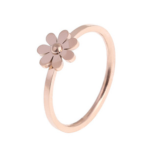 High Quality Stainless Steel Rings for Women Female Charm Flower Shape Gold Rings Jewelry for Valentines Day Gift
