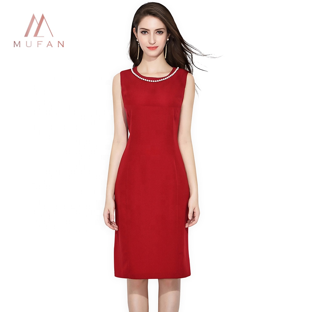 Wholesale Summer Latest Women 0-neck Sleeveless Slim Red Office Dress фото