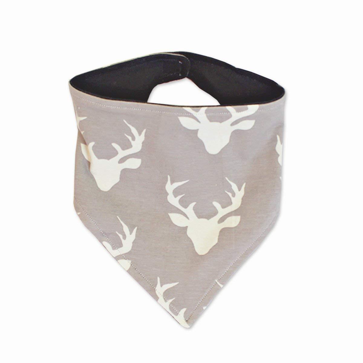 Gray deer reversible drool bib