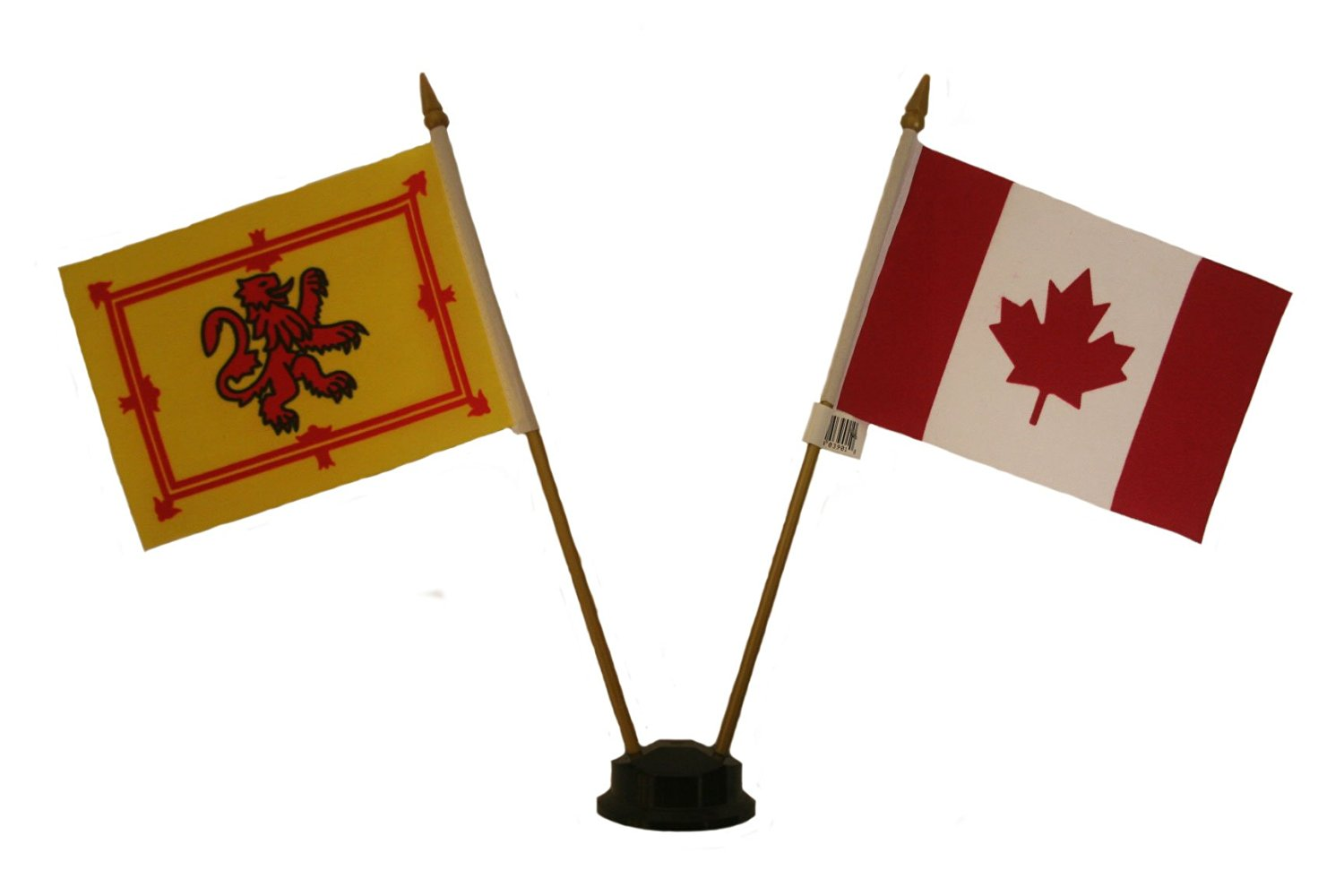 SCOTLAND LION RAMPANT & CANADA Small 4 X 6 Inch Mini Double Country Stick Flag Banner with BLACK STAND on a 10 Inch Plastic Pole .. New