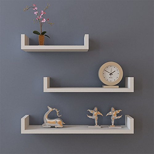 Hindom U Shape Floating Wood Wall Shelves Set of 3 Storage Display Shelf DIY, White (US STOCK)