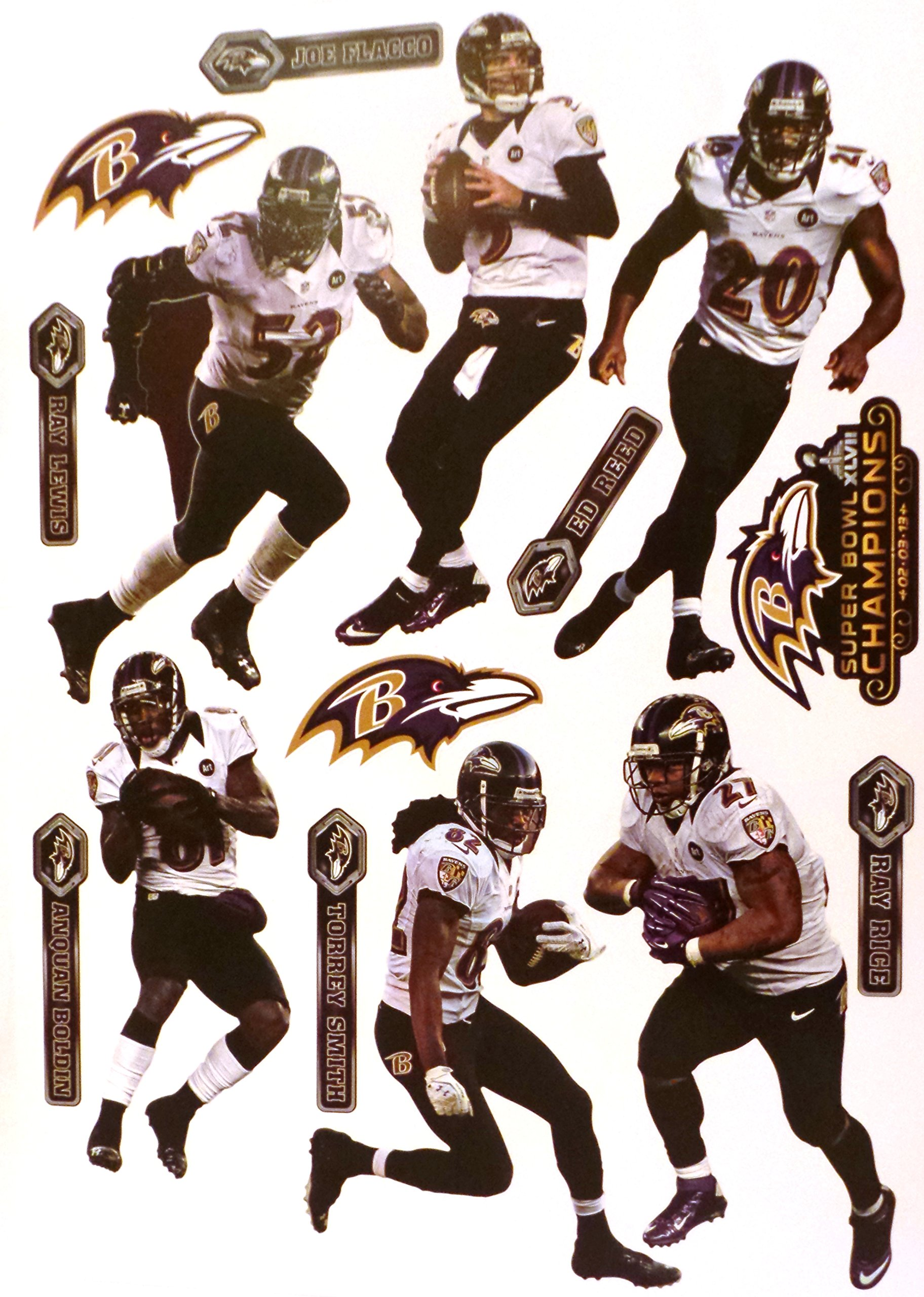 "Baltimore Ravens FATHEAD Team Set of 15 Graphics - Super Bowl 47 Champs Official NFL Vinyl Wall Graphics 17"" INCH SHEET"