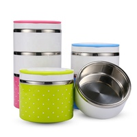 201 steel metal food container multi layers round lunch box with handle and cover
