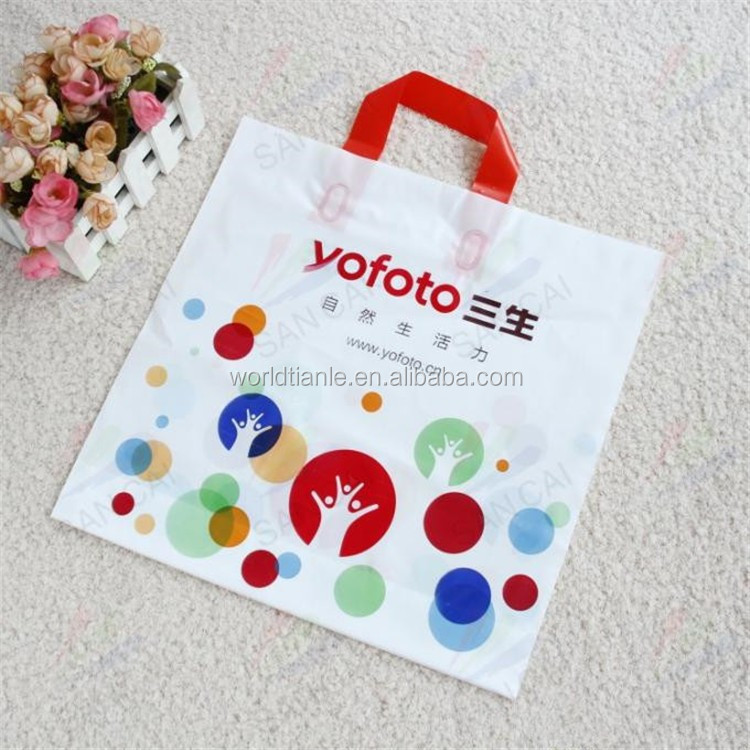 Plastic handle bag high quality LDPE shopping bag loop handle bag for garment