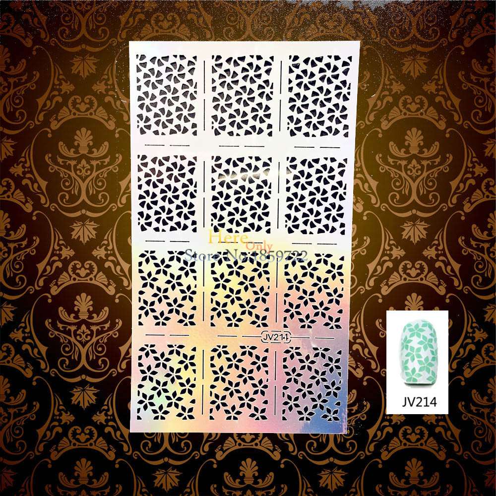 1PC Fashion Hollow Flower Flora Pattern Nail Sticker Stamping Template Styling Tools HJV214 Manicure Art Paint