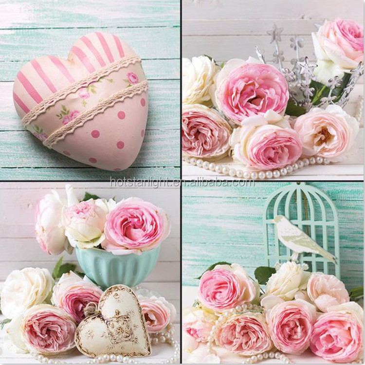Romantic pink rose and love flower 4 pcs set DIY diamond painting for flower store