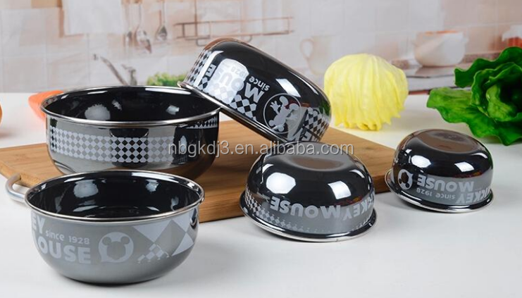 decal printing enamel mixing bowl set with PP lid